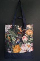 170. Freizeittasche Blume Canvas/ dunkelblau