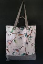 6. Freizeittasche weiß Blume Canvas/ matt grau