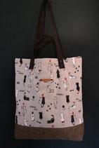 121. Freizeittasche beige Katze Canvas/ matt beige