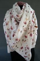 .. Schal Quadrat weich Cremeweis Blume Baumwolle ca 145 cm