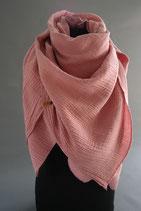 52. Schal Quadrat Creme Rosa ca 140 cm