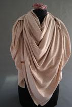 9. Schal Quadrat Jersey beigerosa mit leicht Gold Baumwolle ca 145 cm