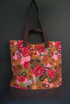 184. Freizeittasche rot Blume Baumwolle/ dunkelbraun