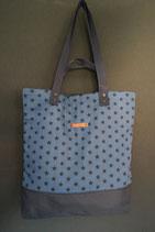 175. Freizeittasche Blau Sterne Baumwolle/ dunkelblau