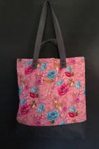 77. Freizeittasche rosa Reh Blume Baumwolle/ dunkelgrau