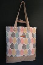 112. Freizeittasche bunte Blätter Canvas/ matt beige