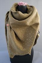 .. Schal Quadrat Olivgrün  Gold Punkte  Baumwolle ca 140 cm