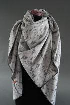 4. Schal Dreieck hellgrau Rose ca 150 cm