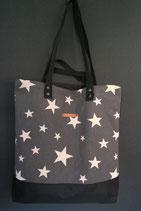 210. Freizeittasche Dunkelgrau Sterne Canvas/ schwarz