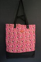 218. Freizeittasche pink Rose Baumwolle/ schwarz