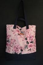 179. Freizeittasche Cremerosa Blume Canvas/ dunkelblau