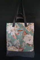 49. Freizeittasche türkis Blume Canvas/ matt dunkelgrau