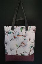 97. Freizeittasche weiß Blume Canvas/ rotlila