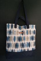 174. Freizeittasche blau beige Canvas/ dunkelblau