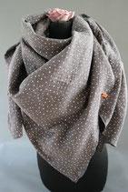.. Schal Quadrat Mittelgrau Punkte Baumwolle ca 150 cm