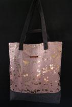35. Freizeittasche Rosa Gold Wildstoffe/ matt dunkelgrau