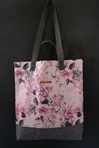 45. Freizeittasche Cremerosa Blume Canvas/ matt dunkelgrau