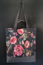 40. Freizeittasche Dunkelblau Blume Canvas/ matt dunkelgrau