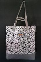 26. Freizeittasche Dreiecke Baumwolle/ grau