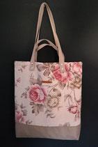 105. Freizeittasche Cremebeige Blume Canvas/ beige