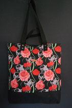 220. Freizeittasche Totenkopf Rose Baumwolle/ schwarz