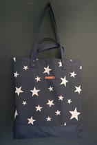 166. Freizeittasche Blau Sterne Canvas/ dunkelblau