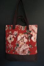 191. Freizeittasche cremerot Rose Canvas/ dunkelbraun