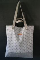 2. Freizeittasche Hellgrau Sterne Baumwolle/ matt grau