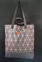 41. Freizeittasche grau Dreieck Baumwolle/ matt dunkelgrau