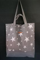 24. Freizeittasche grau Sterne Baumwolle/ grau