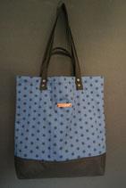 213. Freizeittasche Blau Sterne Baumwolle/ schwarz