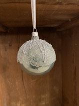 Glaskugel grün glänzend mit Glitzer und Perlen dia 8cm