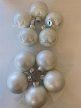10 Glaskugeln winter white matt und glänzend dia 6cm
