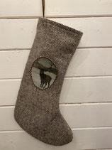 Nikolausstiefel tweed mit Hirsch 35cm