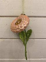 Glasanhänger Blume pfirsich mit Glitzer 16cm