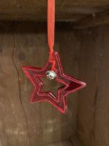 Glastern rot mit Glocke und Glitzer 3,5x3,2cm