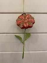 Glasanhänger Blume pink mit Glitzer 16cm