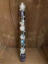 9 Glaskugeln mix Kugeln und Schneemann weiss blau dia 7cm