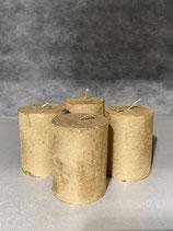 4 Kerzen durchgefärbt altgold 60/80mm Brennzeit 28Std