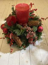 Adventsgesteck Traditionell  doppelt unten Mix rund dia 30 oben Mix halb dia 25cm