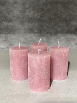 4 Kerzen durchgefärbt altrosa 50/80mm Brennzeit 20Std