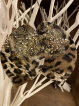 Dekoblatt Leopard verzweigt mit Glitter 8,5x2cm 2 Stück