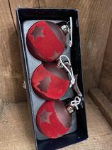 3 Glaskugeln Red Glass mit Samt dia 8cm