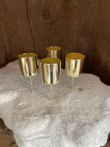 4 Stabkerzenhalter gold dia 4cm