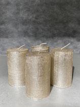 4 Kerzen durchgefärbt platin lackiert 50/80mm Brennzeit 20Std