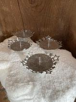 4 Kerzenhalter silberoptik mit Sternen dia 6cm