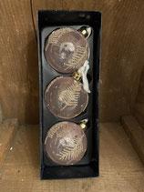 3 Glaskugeln rose mit Blätter gold dia 8cm