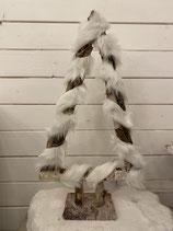 Holzbaum plüsch weiss mit LED Lichter h48cm