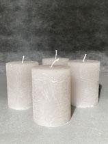 4 Kerzen durchgefärbt warm grey  60/80mm Brennzeit 28Std