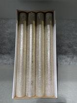 4 Stabkerzen durchgefärbt platin lackiert 34/300mm Brennzeit 30Std